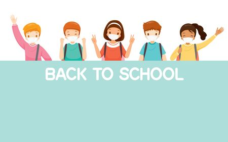 Children Wearing Surgical Mask Happy Back To School, Jumping, Cheerfully Together, Educational, Instruction, Sanitary, Healthcare, Safety Ilustração