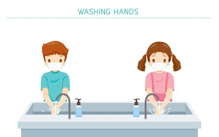 Children Wearing Surgical Mask, Washing Hands At School For Protection From Covid-19, Coronavirus Disease, Social Distancing Concept, Educational, Instruction, Sanitary, Healthcare, Safety Ilustração