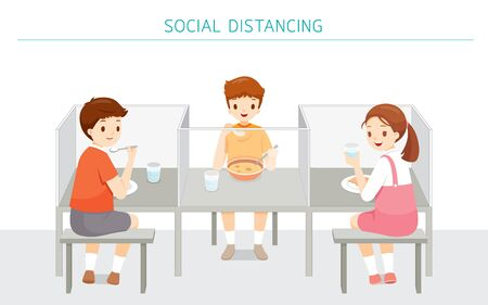 Social Distancing Concept, School Cafeteria New style For Protection From Covid-19, Coronavirus Disease, Children Eating Food At School, Educational, Instruction, Sanitary, Healthcare, Safety