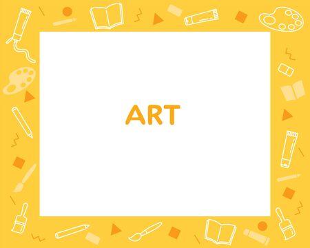 Art Subject Frame, Design Of Art Supplies On Frame, Teaching Media, Educational, Instruction