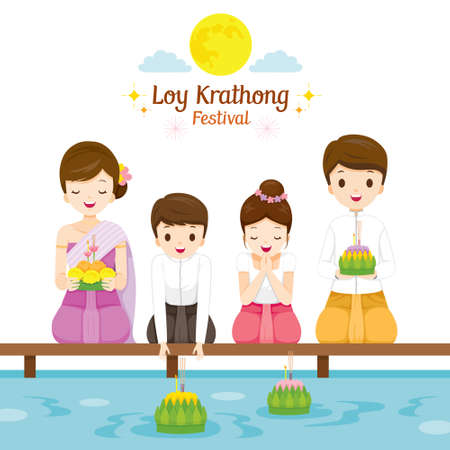 Loy Krathong Festival, Family in Traditional Thai Clothing, National Costume Sitting, Celebration and Culture of Thailand, Asia, Feast, Season, Religion Ilustração