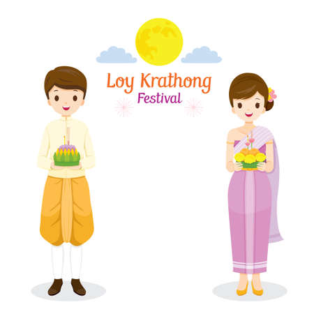 Loy Krathong Festival, Couple in Traditional Thai Clothing, National Costume Standing, Celebration and Culture of Thailand, Asia, Feast, Season, Religion