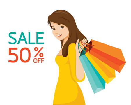 Young Woman With Shopping Bags In Hand, Black Friday Sale, Celebretion, Events