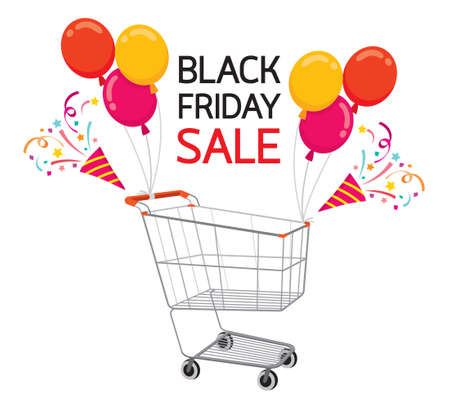 Shopping Cart With Balloon On Black Friday Sale Event, Celebration, Festival