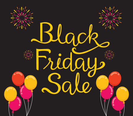 Lettering Of Black Friday Sale, Decorating With Balloon, Celebretion, Festival
