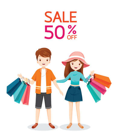 Man And Woman With Many Shopping Bag In Hands, Sale 50 Percent Off, Black Friday Sale, Discount, Promotion Ilustração