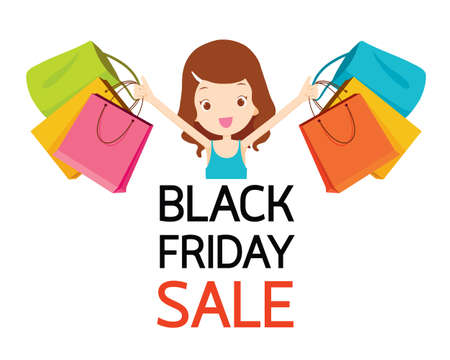 Girl With Shopping Bags In Hand, Black Friday Sale, Celebretion, Events, Festival