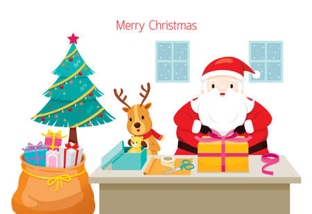 Santa Claus With Reindeer Helping To Wrap Gifts For Christmas Day 矢量图像