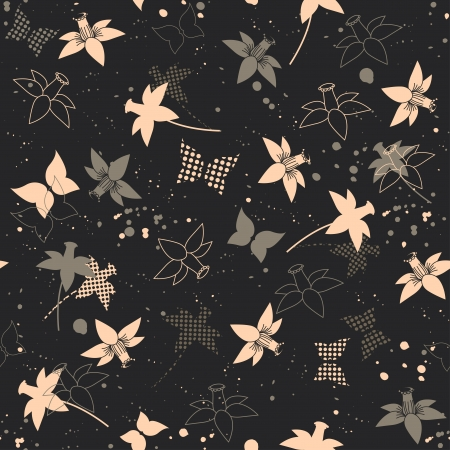 Seamless background with flowers, butterflies and sprays Vector