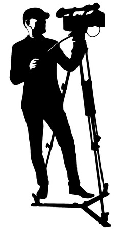 vector black silhouette of cameraman with video camera Ilustração