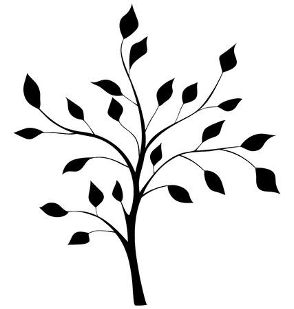 elegant silhouette of a tree 일러스트