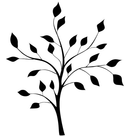 elegant silhouette of a tree Vectores