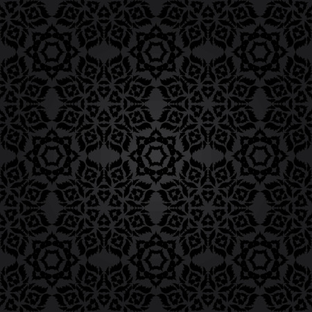 Black seamless background of elements of Baroque 矢量图像