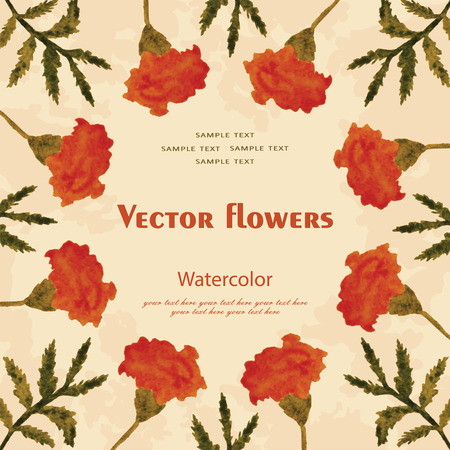phytology: vector watercolor floral frame with an example for your text Illustration