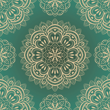vector, rich, seamless, green background with symmetrical mandalas light color Ilustracja