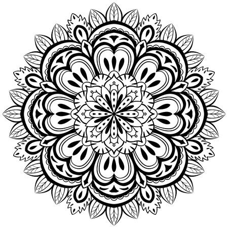 papier peint noir: vecteur, r�sum�, mandala noir avec des �l�ments floraux sur un fond blanc