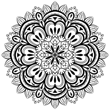 vector, abstract, black mandala with floral elements on a white background Illustration