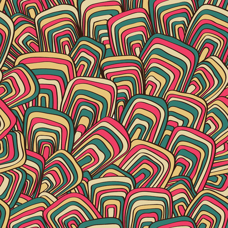 sixties: Abstract seamless vector retro background. Psychedelic pattern. Ornament in style of the sixties. Illustration
