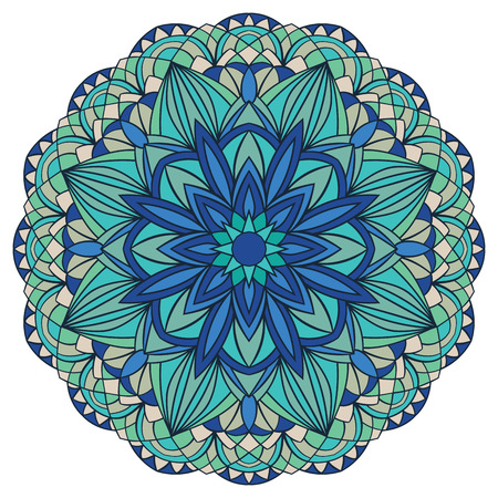 stained glass: Colorful, geometric, vector mandala in blue tones. Stained glass. Illustration