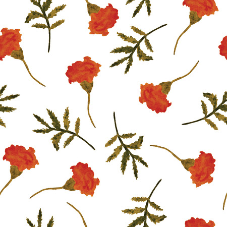 phytology: Vector, seamless, watercolor floral background with  flowers and branches on a white background. Vintage pattern for textile. Illustration