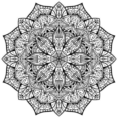 ornamental, vector, elegante, mandala con finas líneas negras sobre un fondo blanco. esbozo de tatuaje.