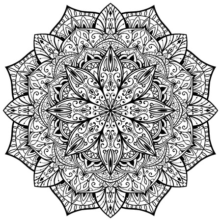 lace filigree: ornamental, vector, graceful, mandala with thin black lines on a white background. sketch of tattoo. Illustration