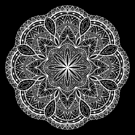 lace vector: Ornamental, White, lace, vector mandala on a black background.