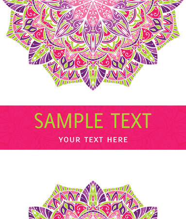mandala tattoo: Vector mandala on a white background with place for your text. Invitation card. Greeting card. Bright  packaging.