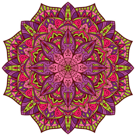 Vector, bright, colorful mandala. Oriental, circular, symmetrical pattern on a white background. 矢量图像