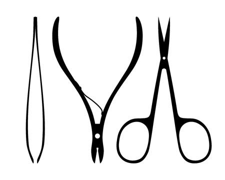 tijeras: Conjunto de accesorios de manicura. Siluetas cortadores de cutículas, tijeras de uñas y pinzas aisladas sobre fondo blanco.