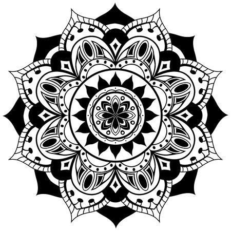 dessin noir et blanc: Vecteur mandala sur un fond blanc. Ornement traditionnel tour d'éléments noirs. Illustration