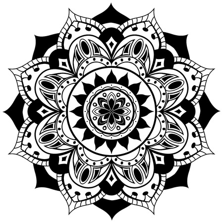 black and white image drawing: Vector mandala on a white background. Traditional round ornament of black elements.