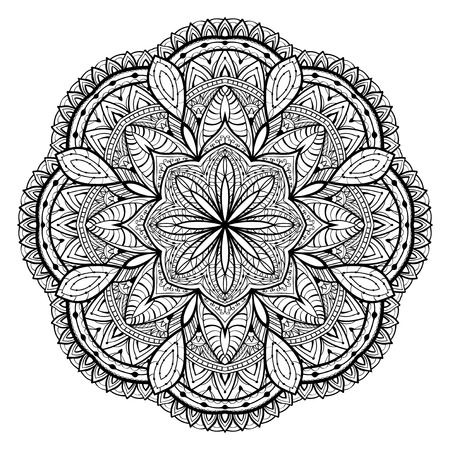 lace vector: Ornamental, black, lace, vector mandala on a white background