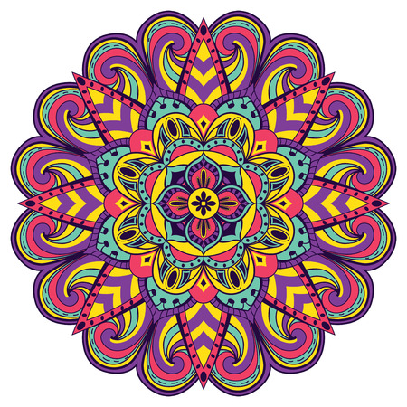 Bright, festive mandala. Multicolor children circular pattern on a white background. 矢量图像