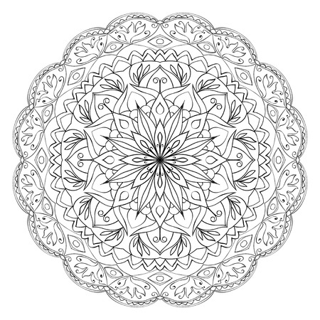 black white: Ethnic eastern circular pattern. element for carpet ornament. Doodle.