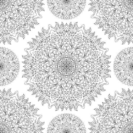 mandala: Seamless vector traditional ornament. Openwork, east pattern of mandalas on a white background. template for cloth
