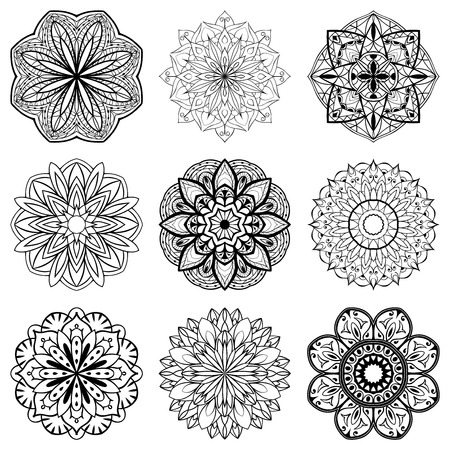 mandala background: Set of mandalas. Collection of stylized stars, snowflakes and sun. Vector round ethnic ornaments.