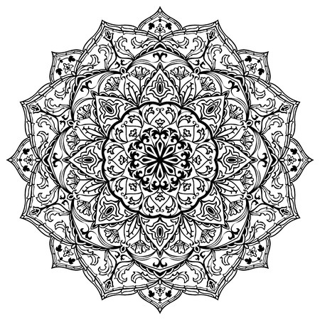 Vector black and white mandala isolated on white background. Sketch of tattoo. Circular vintage ornament. Round element of medieval pattern. Illustration