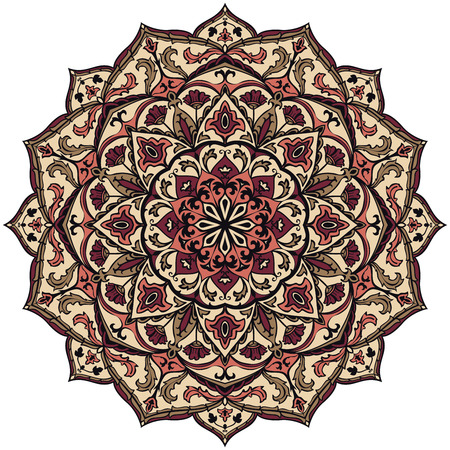 ethnicity: Ethnicity round pattern in muted colors. The element of folk ornament. Vintage colorful mandala.
