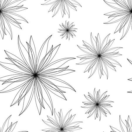 単純なベクトル、花柄。白い背景の上の抽象的な様式化された花。ミニマルなシームレスな輪郭の飾り。