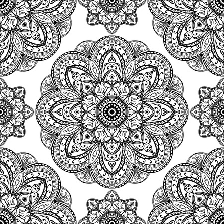 Vector, ornate pattern of mandalas. Oriental ornament of black elements on a white background. Template for cloth.