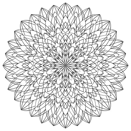 Vector outline mandala isolated on a white background. Sketch for tattoo. Template for fabric.