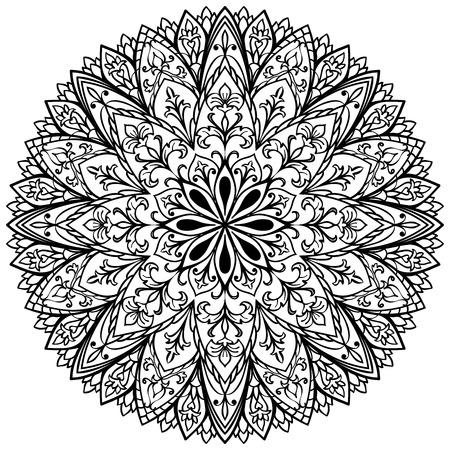 Vector flower medallion. Mandala with vintage ornament. Sketch of tattoo. 矢量图像