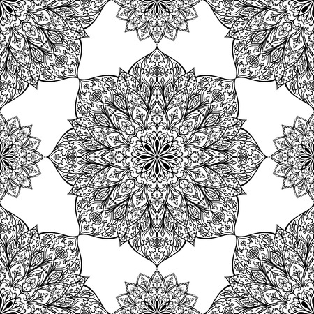 mandala: Seamless vector ethnic ornament. Detailed openwork pattern of mandalas on a white background.template for fabric. Illustration