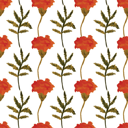 calendula flower: Seamless vector floral pattern. Watercolor marigolds on a  white background.