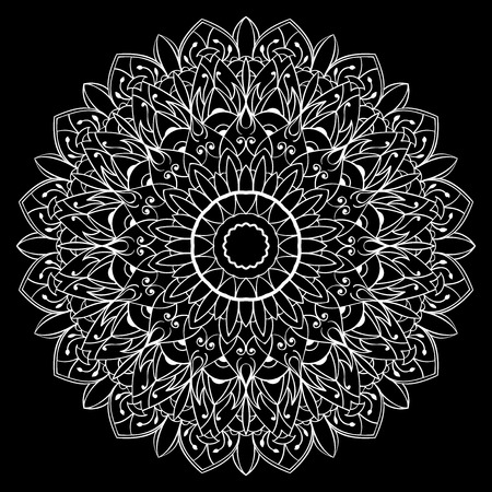 embroidery flower: Ornamental, white mandala on a black background. Vector, lace round ornament.