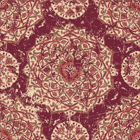 worn: Retro worn carpet with oriental ornaments. Medieval vector graceful pattern on the shabby ancient fresco. Fragments of old ornate wall with ethnic tracery. Vintage grunge texture