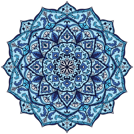 Ethnicity round pattern in blue colors. The element of folk ornament. Vintage colorful mandala.