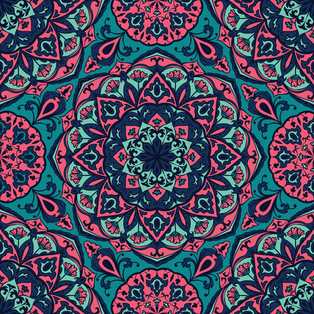 Bright floral pattern with mandalas. Vector seamless, mottled background. Multicolor print on fabric. Illustration