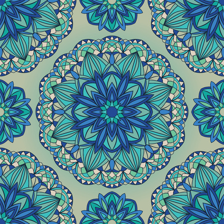 Seamless vector ornamental background. The blue pattern of geometric mandalas. Stained glass.